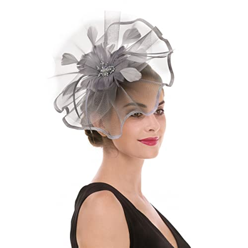 Fascinator Hat Feather Mesh Net Veil Party Hat Ascot Hats Flower Derby Hat  with Clip and 2fb6655f3ae