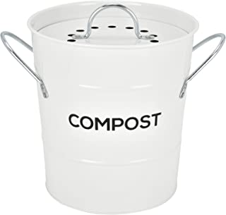 Spigo Indoor Kitchen Compost BIN, Great for Food Scraps, Includes Charcoal Filter for Odor Absorbing, Removable Clean Plastic Bucket, Handles, Durable Stainless Retro Design, 1 Gallon, White