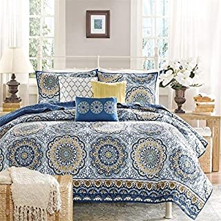 6 Piece Floral Medallion Design Comforter Set Queen Size, Featuring Boho Flower Print Lightweight Chic Bedding, Contemporary Stylish Bohemian Inspired Bedroom Decoration, Blue, Yellow, Multicolor