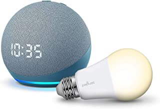Echo Dot with Clock (4th Generation) with Sengled Bulb, Blue