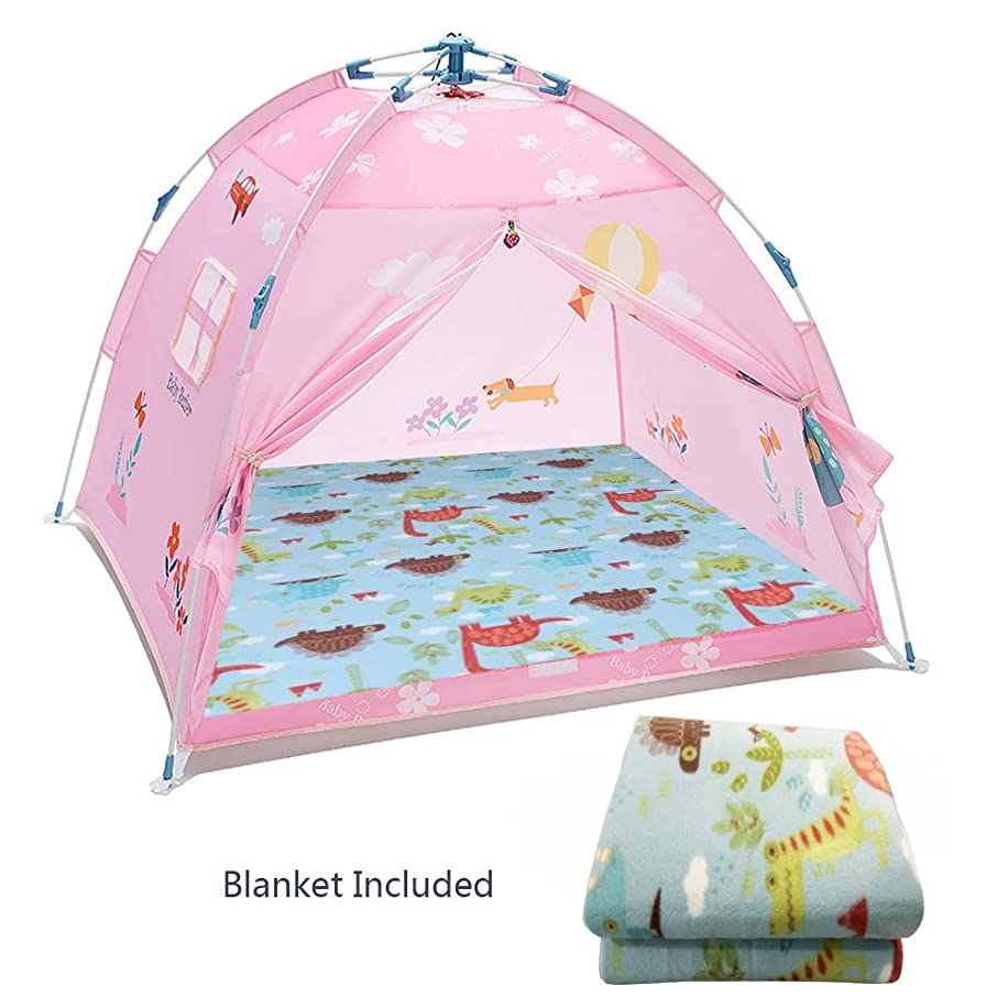Ai-Uchoice Kids Play Tent Princess Castle Tents Pop Up Kids Playhouse Comes with 44.5''x44.5''Moisture-Proof Blanket Best Indoor Outdoor Gift Game for Boys and Girls