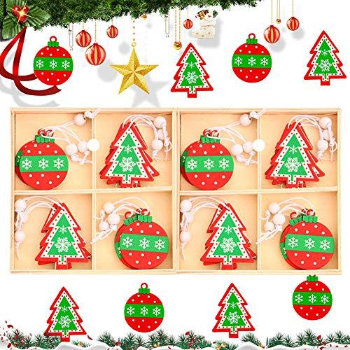 Kerstboom Opknoping Hanger Decoraties BESTZY 24 Stks Kerstboom Decoraties Set Xmas Boom Ornamenten Houten voor Kerstboom…