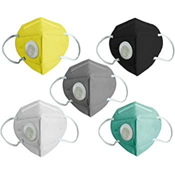 Charge Zero N95 Face Mask (Pack of 5), Special Safety Mask, Anti-Bacterial N95 Mask with Butterfly type Working Silicon Respirator (Washable, Unisex) (Pack of 5 Multicolor N95 Masks)