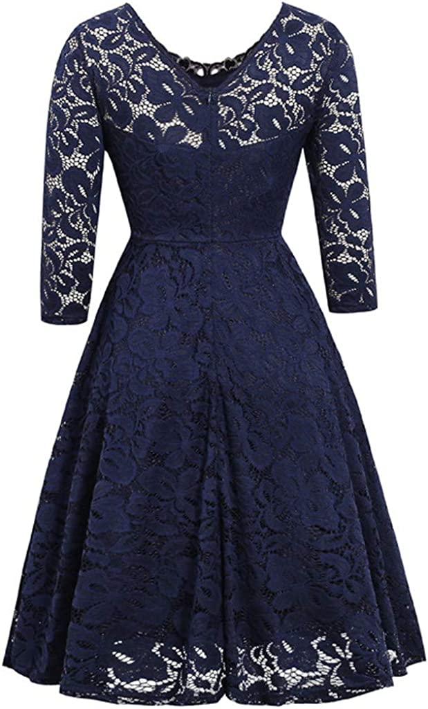 Gergeos Women Floral Lace Long Sleeve V-Neck Party Prom Formal Dresses Plus Size