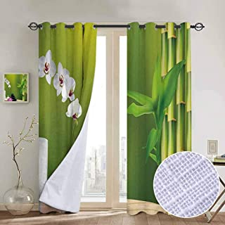 Jinguizi Heavy Light Curtain Spa,Bamboo Flower Stone Wax on The Table Orchid Rock Healthy Lifestyle Theme,Fern Green Fuchsia White Window Treatments Draperies for Bedroom 84 x L84 Inch