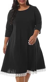 Nemidor Women's Casual 3/4 Sleeve Lace Hem T Shirt Dress Plus Size Swing Loose Dress with Pockets NEM226