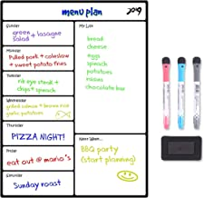 Magnetic Calendar,Dry Erase Menu Board Loftstyle Dinner Menu Board For Kitchen Weekly Calendar Board Meal Planner White Board Thickened Magnet 3 Markers Eraser