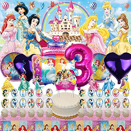 Disney Princess 3rd Party Supplies Decorations 3 Years Old Balloons Banner Backdrop Birthday Decor