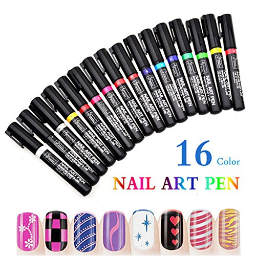 ZUMUii Butterme 16 Couleurs Nail Art Pen pour la 3D Nail Art DIY Décoration Nail Polish Pen Set Design 3D Outil de beauté des Ongles Crayons de Couleur