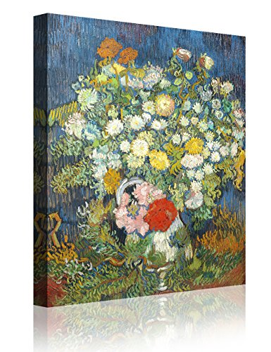IPIC - Bouquet of Flowers in a Vase, Vincent Van Gogh Art Reproduction. Giclee Canvas Prints Wall Art for Home Decor 24#F(24X30)
