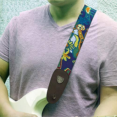 Vintage Woven Gitarrengurt Weiche Baumwolle Baumwolle und Leinen Gitarrengurt Jacquard Weave Bügel 2Inch Breite einstellbare Länge 35-60 Zoll Woven Jacquard-Muster-Entwurf Geeignete E-Gitarre und Akus