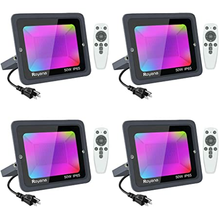4 Pack 50W RGB LED Flood Light with Remote Control, IP65 Waterproof LED Spotlights, Dimmable Color Changing Floodlight Outdoor, 16 Colors 3 Modes Colored Lights Decorative Garden Lighting