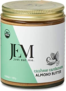 JEM - All Natural, Vegan, Organic, and Dairy Free Cashew Cardamom Almond Butter - Creamy Artisan Spread for Snacks and Sandwiches 6 oz