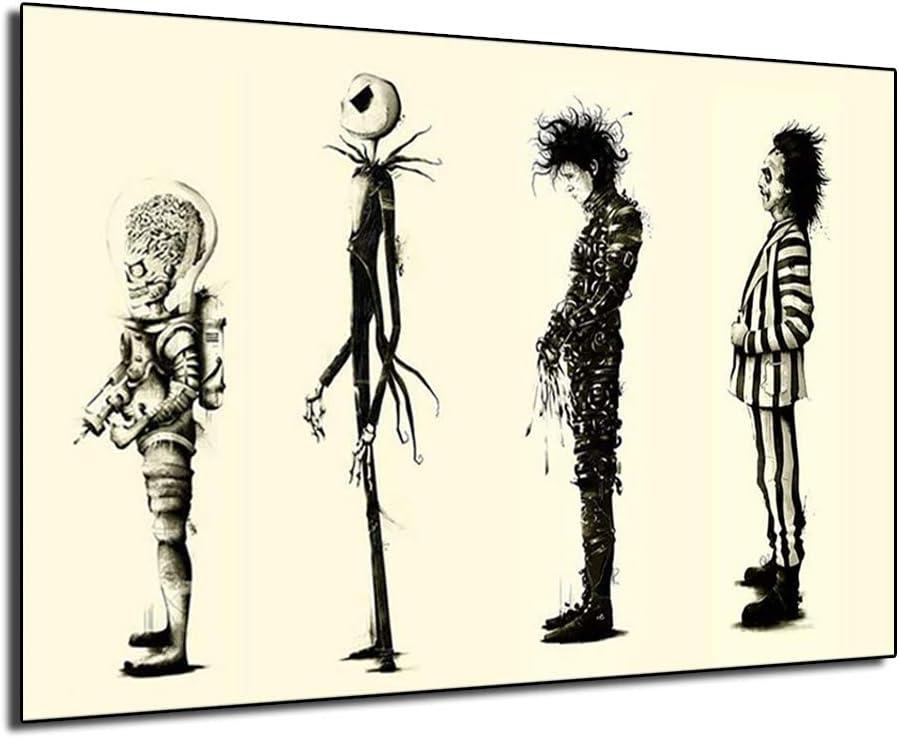 新作続 Tim burton Films 新商品 Beetlejuice Scissorhands Poster Edward Painting