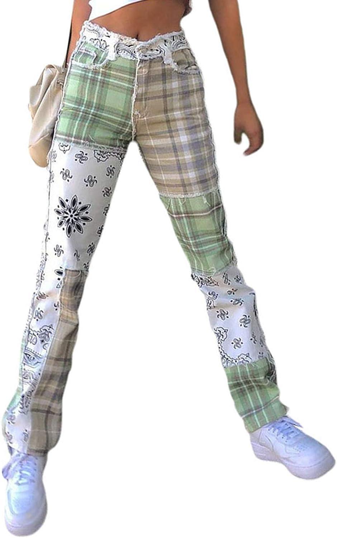 Womens Patchwork Pants High Waist Vintage Raw Edge Color Block Pencil Jeans Patch Denim Bottom Trousers Streetwear