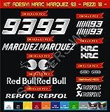 Pimastickerslab Pegatinas Adhesivos Marc Marquez 93 para Motos, Motocicletas. Cod.0631 (Argento cod. 090)