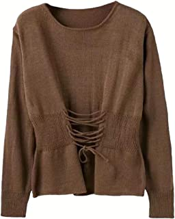 Womens Long Sleeve Casual Round Neck Waist Bandage Pullover Warm Loose Knitted Jumper Sweater