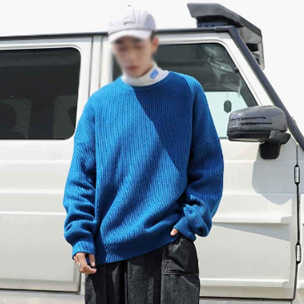 ZYING Men Oversized Colorful Sweater Mens Winter Korean Fashions Sweater Male Pullover Harajuku Solid Sweaters Fashions (Color : XL Code)