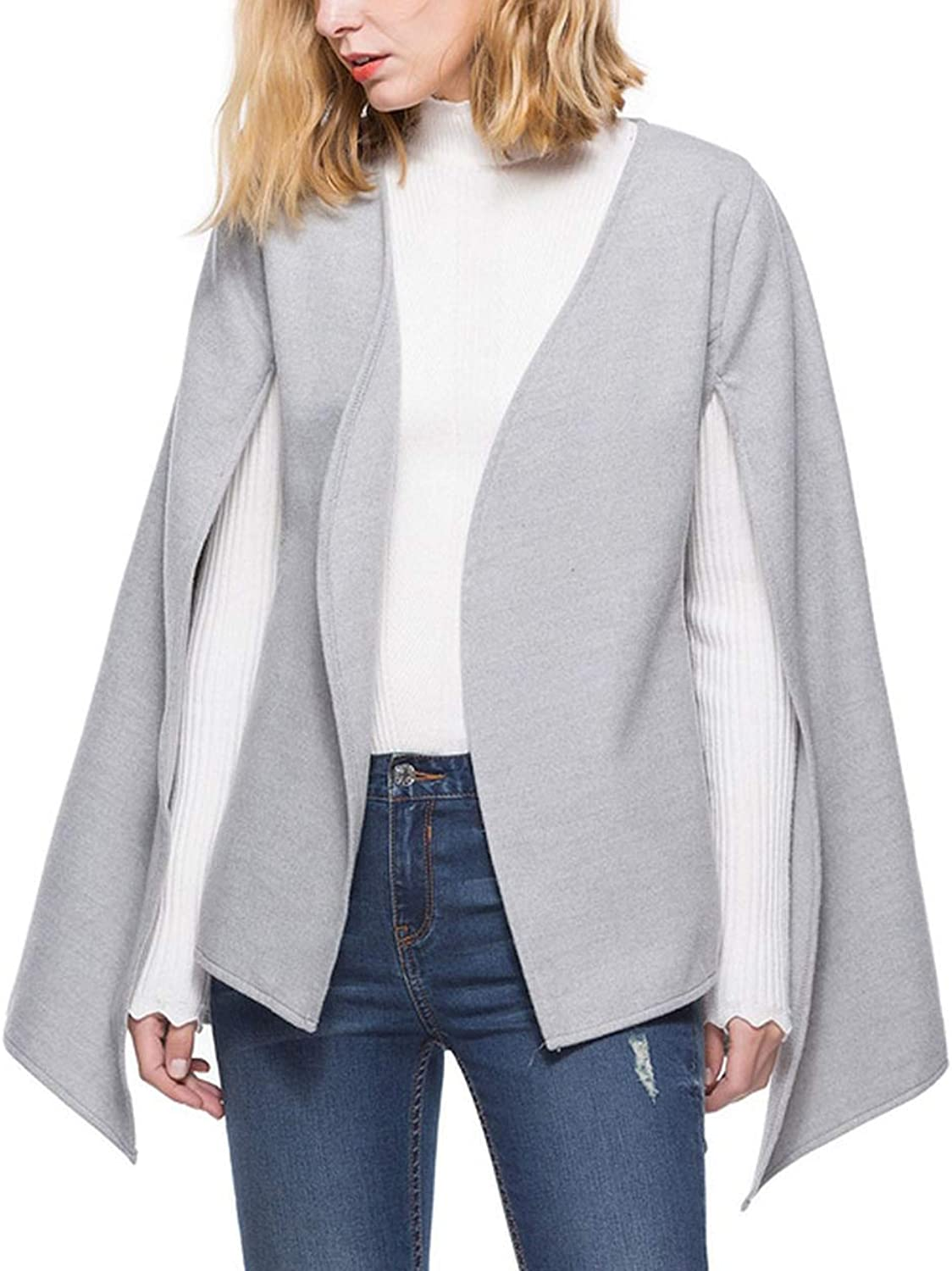 Elegant V Neck Cape Coat Spring Autumn Ladies Open Front Tie Woolen Outerwear