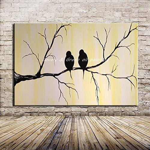 THTHT Artwork olieverfschilderij op canvas handgeschilderd, onframed schattig dierschilderij, zwart liefhebbers van vogels, moderne abstracte grote wand kunst decoratie voor woonkamer slaapkamer kantoor hotel 32×48 inch (80x120 cm)