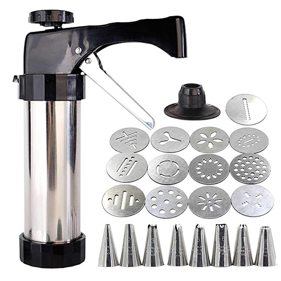 TEEPAO Cookie Press Gun, 13 Stainless Steel Disc Shapes Spritz Cookie Maker Kits and 8 Piping - Versatile, Reusable, for Christmas Party/Birthday Celebration/Anniversary Biscuit Decoration