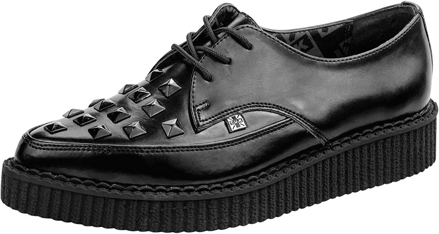 T.U.K. A8833 Pointed Tuk Black Leather Classic Studded Lace UP Jam shoes