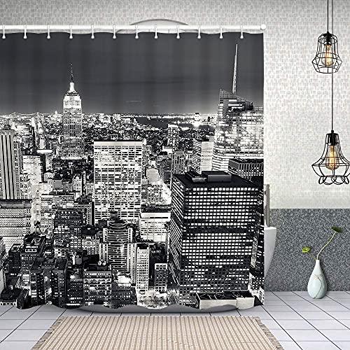 Duschvorhang, New Yorker Nachtszene Polyester Wasserabweisend Shower Curtain Anti-Schimmel Duschgardine, für Badewanne & Bathroom 183 cmx183 cm