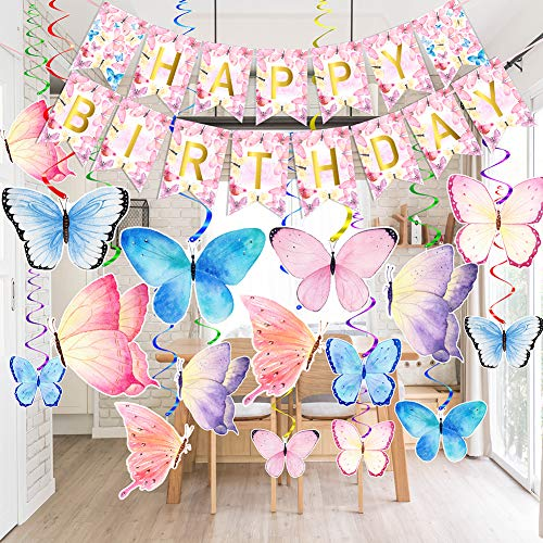 Butterfly Party Decorations - Butterfly Happy Birthday Banner - Butterfly Party Hanging Swirls Decorations - Butterfly Party Supplies for Kids