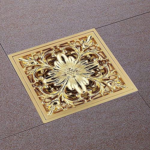 Gmasuber Antik mässing fyrkantig golvavlopp dusch markavlopp med avtagbart skydd sil filter dränering rengöring för badrum tvättrum