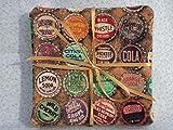 4pk Vintage Bottle Caps Soda Pop Vinyl-lined Cotton Drink Coasters