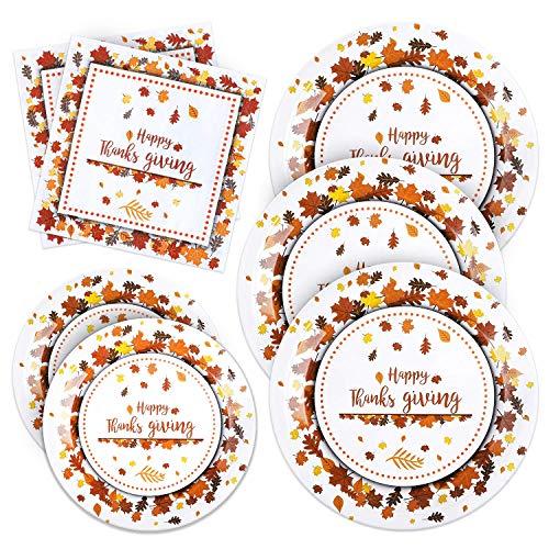 Aneco Thanksgiving Einweg-Partygeschirr Set Partyzubehör Einweggeschirr Pappteller und Servietten für Herbst Geschirr-Set Servieren 24 Gäste