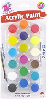 18 Basic Colors Acrylic Paint Pots Set with Brush, Strip Painting Set for Kids