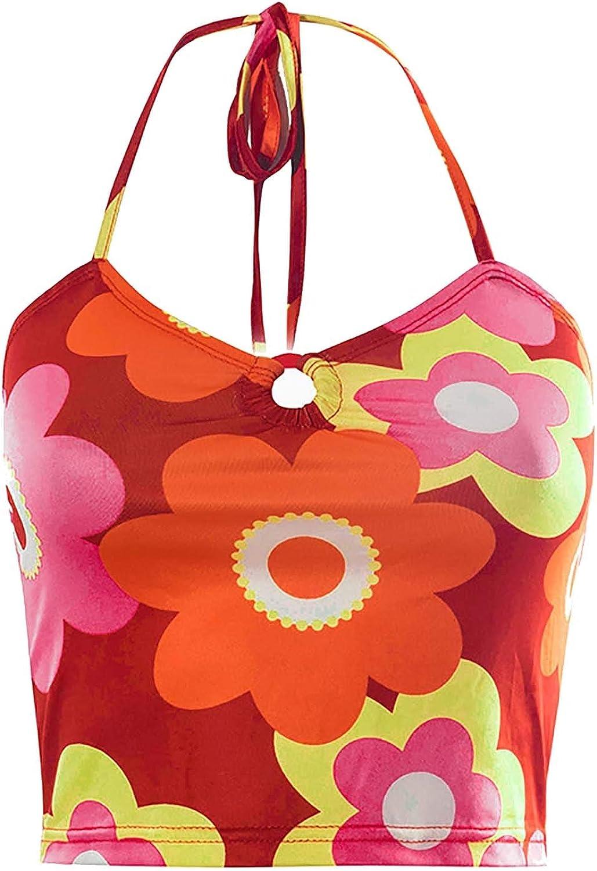 Shinsto Women Halter Neck Crop Top Printed Sleeveless Vest Backless Flower Printed Tee Y2K Streetwear