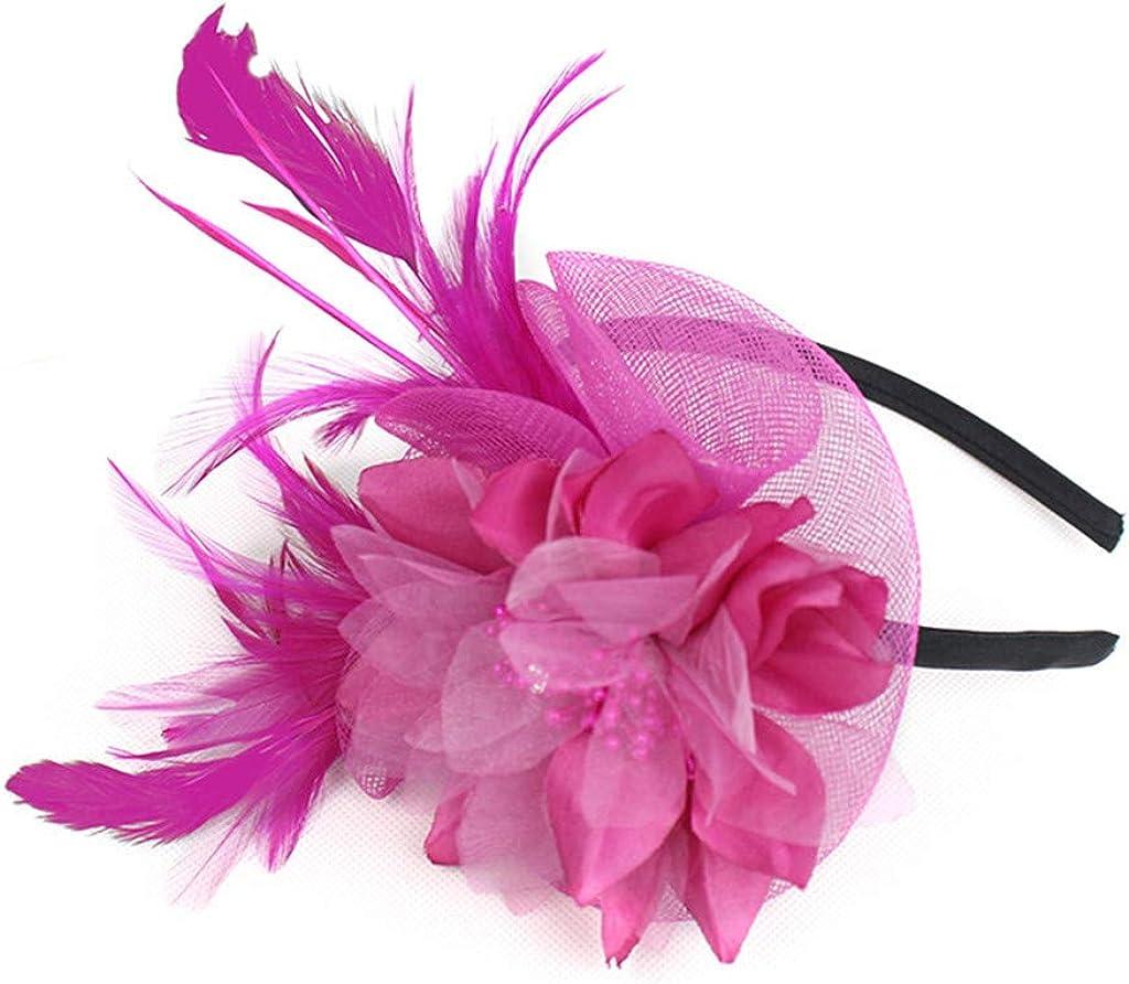 QingFan Fascinator Hats for Elegant Women Flower Derby Feather Hat for Cocktail Ball Wedding Headband