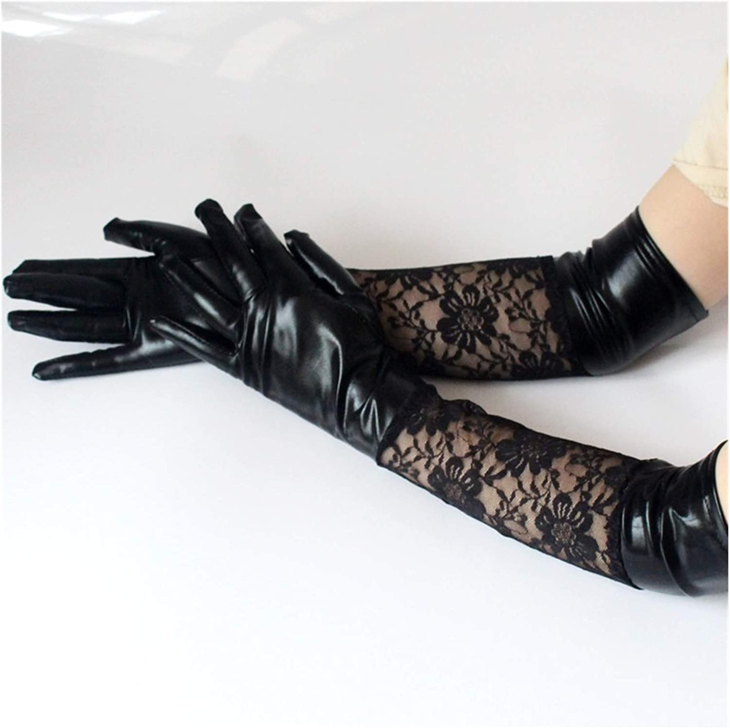 JBIVWW Sexy Lace Faux Leather Long Gloves Black Ladies Full-Finger Etiquette Performance Party Gloves Harajuku Cosplay (Color : Black, Gloves Size : One Size)