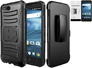 Tempered Glass+2Layer Rugged Rubber Case Cover w/Holster Belt Clip for ZTE Tempo X / Avid 4 / Blade Vantage Phone (Black on Black)