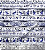 Soimoi Blau Poly Georgette Stoff Katze, Pyramiden & Flügel