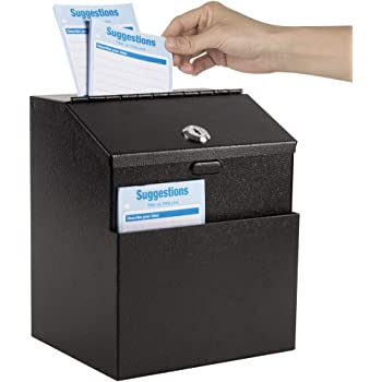 Kyodoled Metal Suggestion Box with Lock Wall Mounted Ballot Box Donation Box Key Drop Box with 50 Free Suggestion Cards 8.5H x 5.9W x 7.3L Inch Black