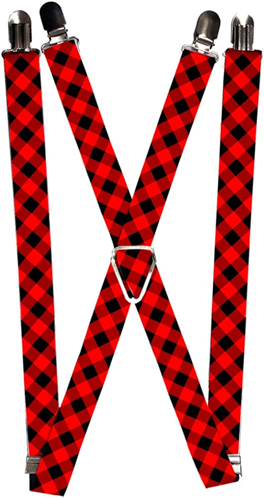 Buckle-Down unisex adults Buckle-down - Buffalo Plaid Suspenders, Multicolor, One Size US