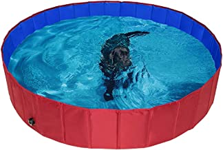 PAWCHIE Foldable Dog Swimming Pool Bathing Tub - Portable Pet Paddling Pool for Dogs Cats and Children Indoors, Outdoors- ...