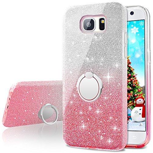 Miss Arts Cover Galaxy S7, Custodia Glitter di in Morbido TPU con Interno in Policarbonato Ultra Resistente, Supporto Rotazione a 360 Gradi per Samsung Galaxy S7 -Rosa