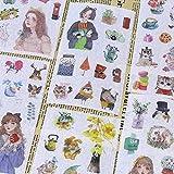 6 Stück selbstgemachtes Papier Fresh Europe Forest Mädchen Aufkleber Blumen- und...