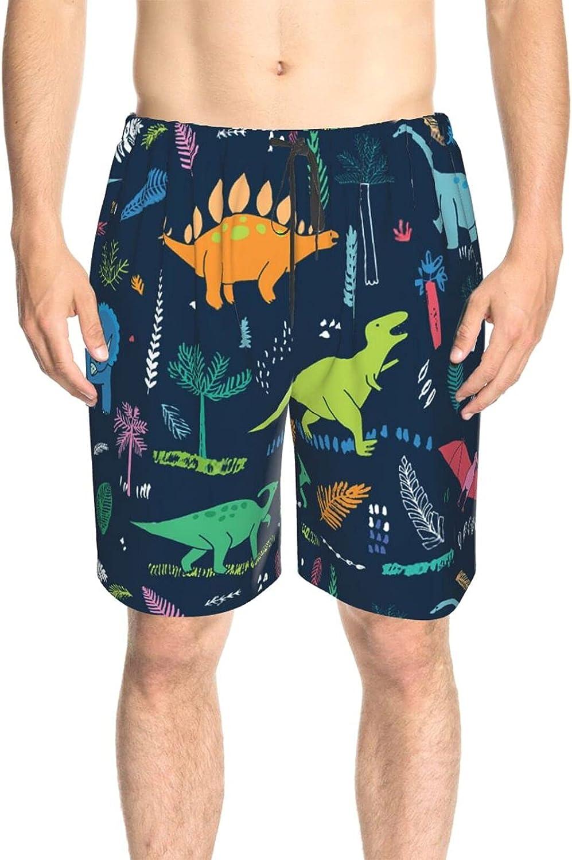 JINJUELS Men's Swim Trunks Colorful Dinosaur Swim Short Boardshort Drawstring Elastic Swimwear Beach Shorts with Lining