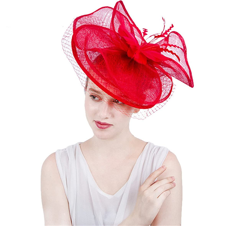 ダウンタウン統治するいま女性の魅力的な帽子 女性のエレガントな魅惑的な帽子カバーフェイシャルブライダルヘッドドレスフラワーヘアアクセサリーウェディングカクテルロイヤルアスコット (色 : 赤)