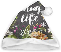 XQJANEY Santa Hat Christmas Hat Thug Life Flowers Decorative Unisex Comfort Xmas Holiday Hat for New Year Christmas Halloween Party Celebrations and Recreation
