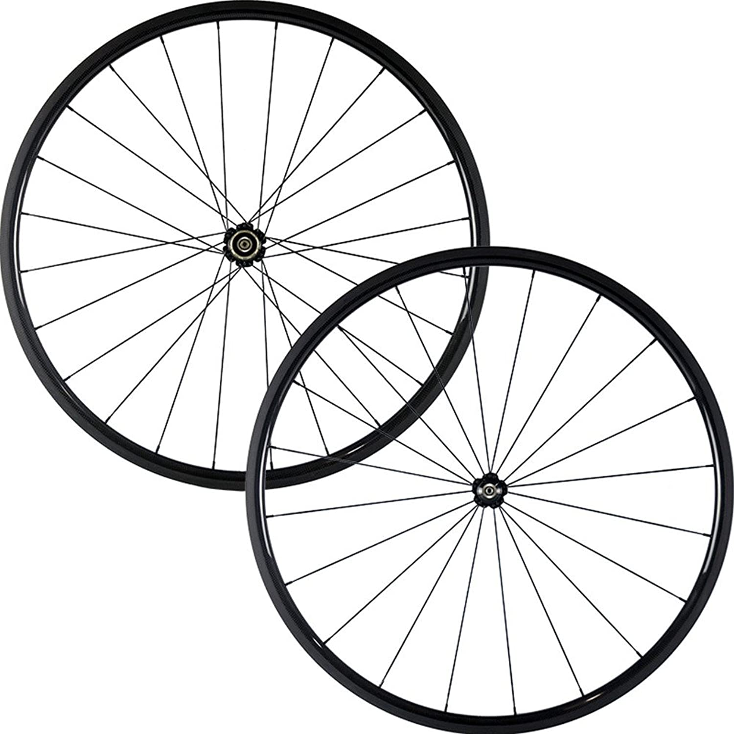 Hulksports 700C 24mm Clincher Carbon Road Bicycle Wheels Ultra Light 23mm Width Wheelset Optional Glossy or Matte