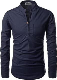 Mandarin Henley Slit Neck Cool Texture Linen Casual Shirts