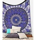 Tapiz bohemio de pared hecho a mano con un diseño de mandala de estilo indio de la luna y del sol, para colgar de la pared, QUEEN DESIGN 2