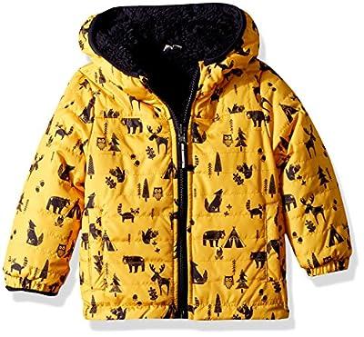 LONDON FOG Boys' Toddler Reversible Fleece to Poly Jacket, Yellow Animals Green, 3T