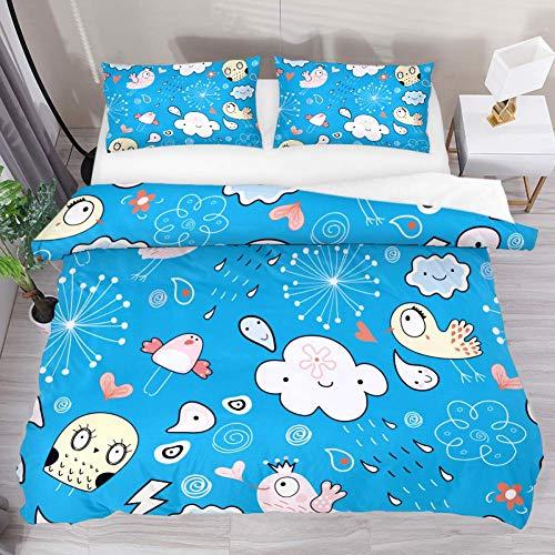 Eslifey Printed Bed Duvet Cover Set Double Cartoon Bird Cloud Skull 3 Pcs Duvet Bedding Set with 1 Comforter & 2 Pillow Shams All Seasons